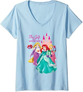 Femme Disney Princess Ariel Rapunzel and Aurora Holiday T-Shirt avec Col en V