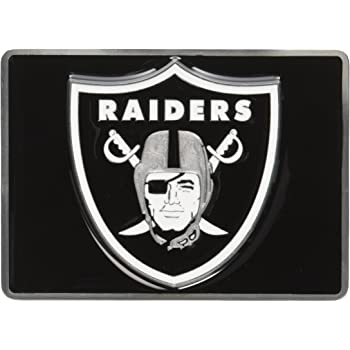 FANMATS 22597 NFL Oakland Raiders Black Type III Chromed Metal Hitch Cover with 3D Color Emblem