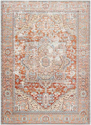 Amazon Com Jonathan Y Alba Modern Faded Peshawar Area Rug 7 9 X 10 Light Blue Ivory Furniture Decor