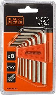 Black+Decker 8 Pieces 1.5-6mm Steel Hexkey Set , Orange/Black - BDHT81593, 2 Years Warranty