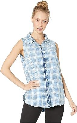 Indigo Double Weave Bobi Box Paid Sleeveless Button Back Shirt