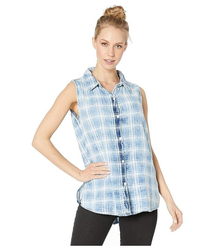 Dylan by True Grit Indigo Double Weave Bobi Box Paid Sleeveless Button Back Shirt (Denim) Women