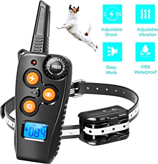 Zapuno Shock Collar for Dogs,1800ft IP68 Waterproof Shock Collar with Remote Dog Training Collar with Beep/Vibration/Shock Collar for Small Medium Large Dogs