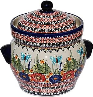 Polish Pottery Fermenting Crock Pot From Zaklady Ceramiczne Boleslawiec #1126-149 Art Signature Pattern, Height: 7.25