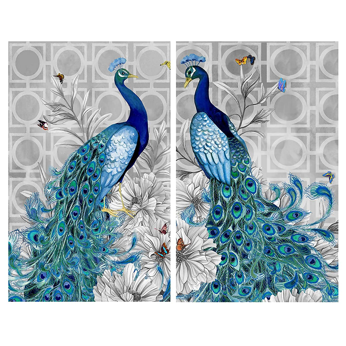 2 Pack DIY 5D Diamond Painting by Number Kits Full Drill Round Rhinestone Embroidery Pictures Arts Craft for Home Wall Decoration (Peacock 11.8 x 15.7inches)