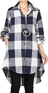 Women's Linen Plaid Blouses Loose Button-Down Shirts Roll-up Sleeve Tunic Tops