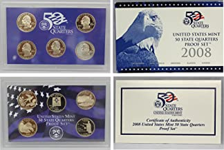 US 2008-S Mint clad Quarter Proof Set with 5 Coins with Original Box and COA