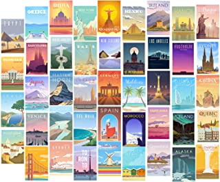 HerZii Prints 44 PCS Aesthetic Picture for Wall Collage, 4x6'' Travel Cards, Collage Print Kit, Warm Color Trendy Room Dec...