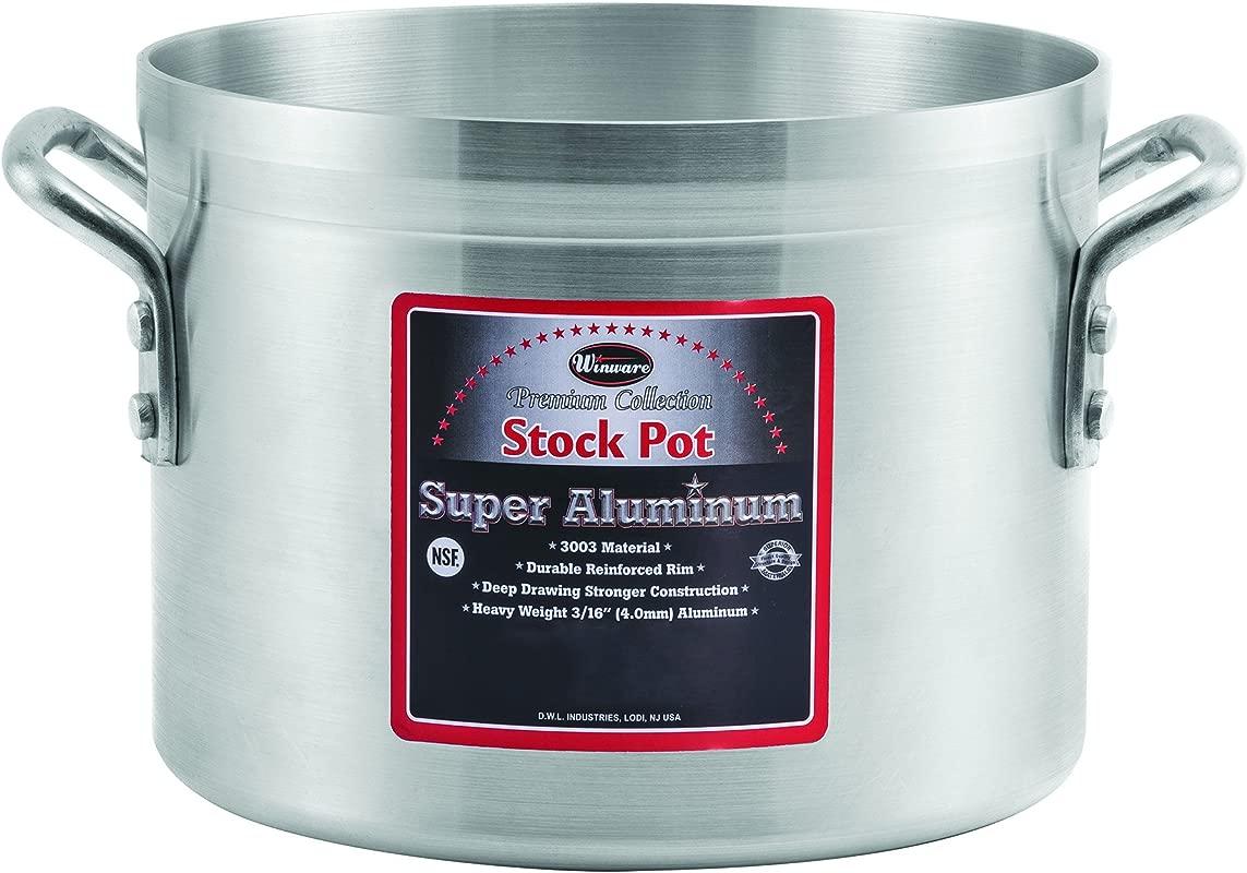 Winco USA Super Aluminum Stock Pot Heavy Weight 24 Quart Aluminum