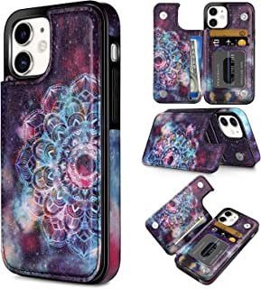 Coolden Compatible with iPhone 12 Pro Wallet Case Slim Credit Card Holder Painted Ethnic Totem Cover Kickstand Protective PU Leather Flip Folio Case Compatible with iPhone 12 6.1 Mandala