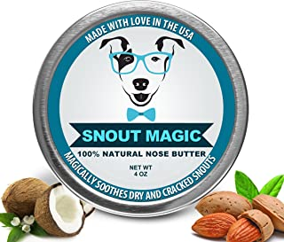 Snout Magic 2X All Organic and Natural Nose Butter Balm That Repairs and Heals Your Dog Snout with Shea Butter, Coconut Oil, Olive Oil to Moisturize and Protect Damaged Rough Cracked Dry Nose 4 Ounce