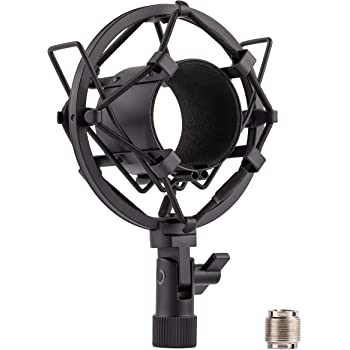 LYRCRO Microphone Shock Mount, Universal 46mm Mic Anti-Vibration Suspension Shock Mount Holder Clip for 44mm-49mm Diameter Condenser Mic