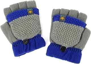 Flammi Kids Knitted Convertible Mittens Half Fingerless Gloves with Mitten Flap (Grey)