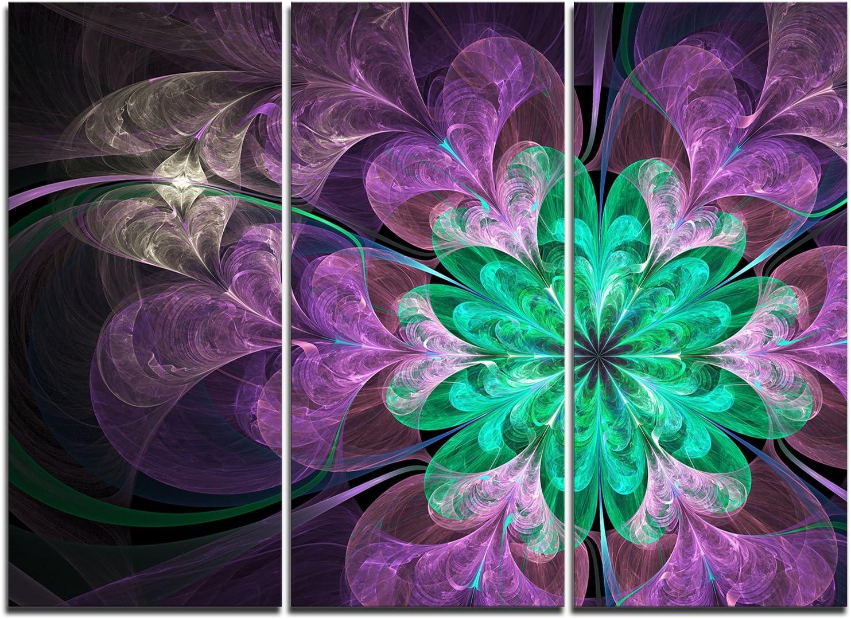 Designart Glittering Purple Green Fractal Flower Large Floral Metal Wall Art 40x30 40x30 Posters Prints