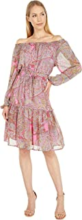 Tommy Hilfiger womens Tommy Hilfiger Off the Shoulder Paisley Dress Off The Shoulder Dress