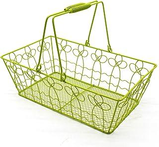 CVHOMEDECO. Paniers de rangement rectangulaires en fil métallique avec paniers de collecte de style ressort. Vert clair.