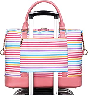 CAMTOP Womens Weekender Bag Canvas Overnight Travel Carry On Tote with Trolley Sleeve (B-Stripe-Colorful)