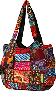 Hippie Handmade Shoulder Beach Bag Tote Boho Chic Patchwork Embroidered Purse Red Casual Everyday Roomy Laptop School Market