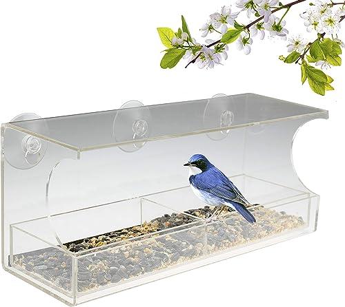 Mangeoire de fenêtre rectangulaire - ventouses Robustes/bac à semences - Deux Compartiments- pour Oiseau Sauvage/Pins...