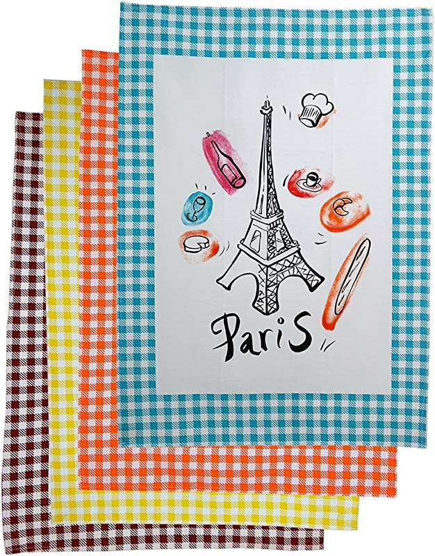 Paris Bistro Cotton Tea Towels Set Of 4 Assorted