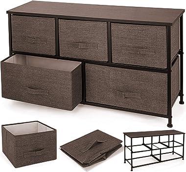 Happybuy Dresser Storage Tower with 5 Fabric Drawer Steel Frame Storage Cabinet Bin Storage Organizer Unit Fabric Cube Dresse