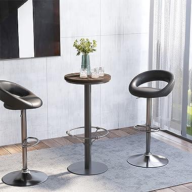 """HomCom 42"""" Rustic Bar table Industrial Metal Pine Wood Top Adjustable Standing Pub Table"""