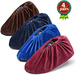 Safety shop 4Pairs Gorgeous and Non-Slip Shoe Covers, Washable and Reusable Boots Covers, For Indoors and Households. Keep the Carpet, Floor, and Shoes Clean. Fit for US Size 5.5-10