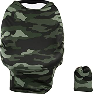 TUOKING Car Seat Covers for Babies, Silky Texture Nursing Cover for Breastfeeding with Matching Pouch, Camouflage
