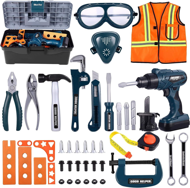 iBaseToy Caja de herramientas de juego con taladro, atornillador inalámbrico, juego de rol para niños