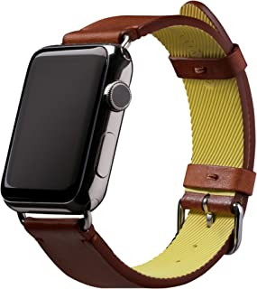 Native Union Active Strap Leather Edition - Genuine Leather Sports Strap with High-Performance Fluoroelastomer Backing for Apple Watch 42mm (Tan)