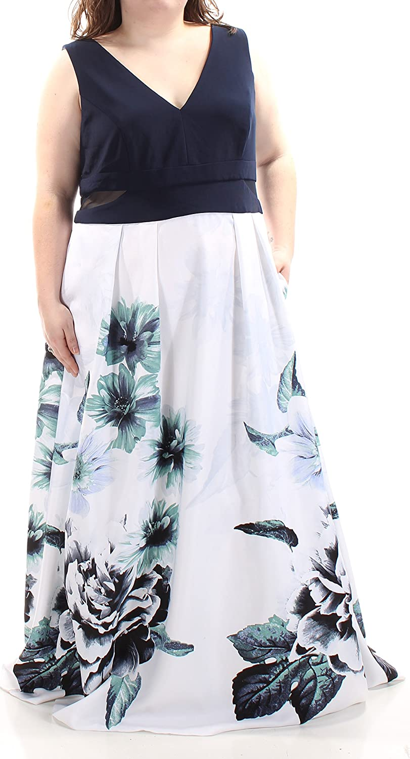 Xscape Womens Navy Floral Sleeveless V Neck Full Length Fit + Flare Formal Dress Plus US Size  22W