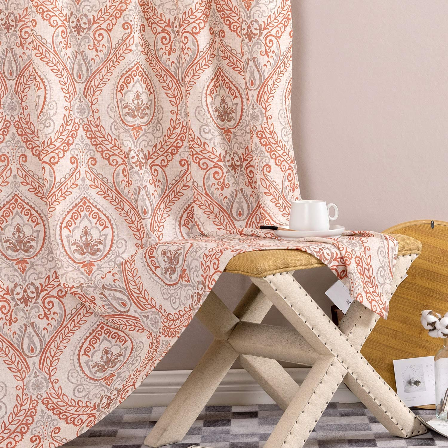 Linen Max 75% OFF Curtains Tulsa Mall for Living Room with D JINCHAN Vintage Multicolor