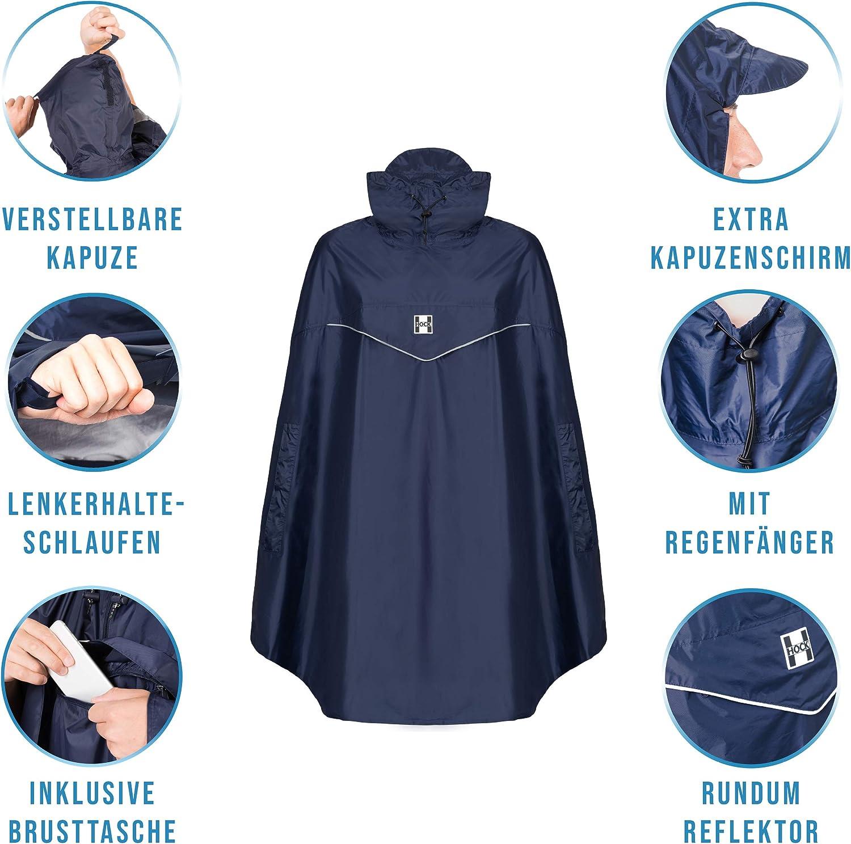 Coupe-vent HOCK Poncho de pluie pour v/élo /« Rain Light /» Avec capuche et ouverture lat/érale sur les bras Cape de pluie extra l/ég/ère pour homme et femme 100 /% imperm/éable