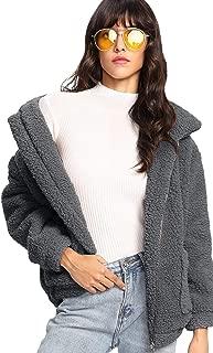 MAKEMECHIC 女式长袖拉链双口袋人造毛皮外套 灰色 Large