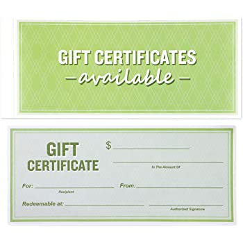 Best Paper Greetings 50-Sheet Gift Certificate Book for Small Businesses, Corporate Events, Personal Gift Giving, 8.5 x 3.5 Inches