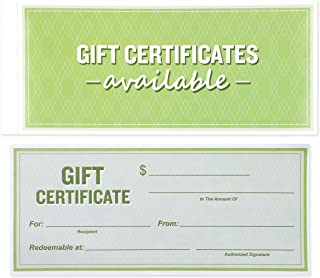 Best Paper Greetings 50-Sheet Gift Certificate Book for Small Businesses, Corporate Events, Personal Gift Giving, 8.5 x 3....
