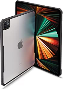 TineeOwl iPad Pro 11 inch Case 2021, 2020 & 2018 (3rd, 2nd & 1st Generation) Ultra Thin Matte Clear, Supports Apple Pencil Wireless Charging, Absorbs Shock (Black/Matte Back)
