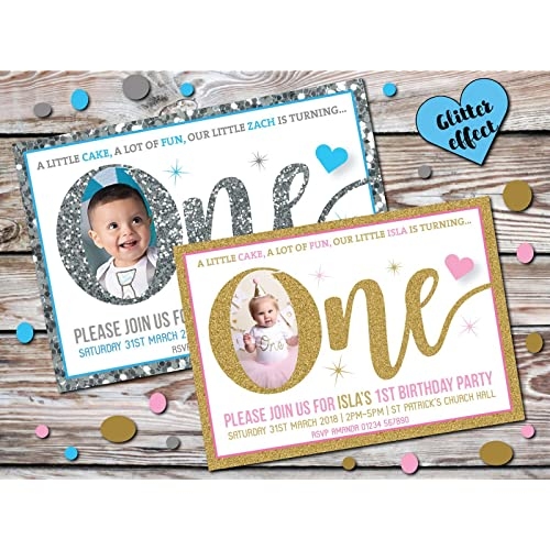 10 Personalised Kids Boy Girl 1st First Birthday Party PHOTO Invitations Invites