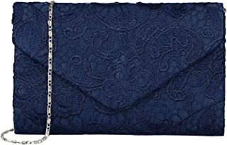 Baglamor Women's Elegant Floral Lace Envelope Clutch Evening Prom Handbag Purse
