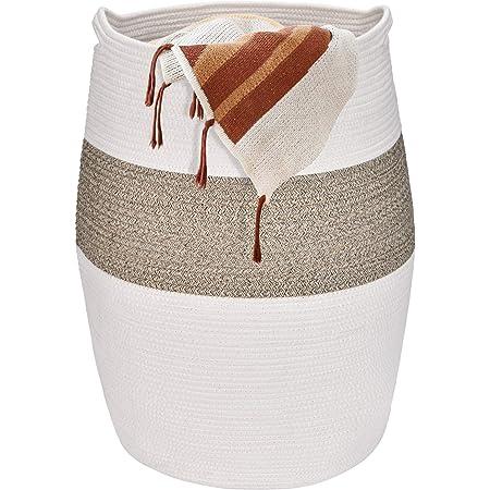 Vamcheer Paniers à Linge en Coton, 64 x 49 cm,Grande Capacité Panier de Rangement 100% en Coton, Corbeille à Linge de Haute Qualité, Peut être Utilisé dans la Chambre de Bébé,