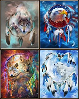 Newbested 4 PCS DIY Diamond Painting 5D Home Decoration Handmade Rhinestone Embroidery Mosaic Cross Stitch(Wolves and Eagles)