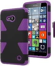 Bastex Lumia 640 Phone Case, Hybrid Soft Purple Silicone Cover Hard Black Dynamic Design Case for Microsoft Nokia Lumia 640INCLUDES Stylus