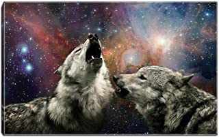 Wolf Painting Picture Animal Canvas Wall Art Ready to Hang for Living Room Bathroom Bedroom Decor with Frame (Colorized-White)
