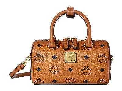 MCM Essential Visetos Original Boston 18 (Cognac) Handbags