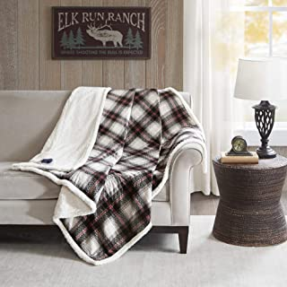 "Woolrich Elect Electric Blanket Throw with 3 Heat Level Setting Controller, Polyester, Ridley Black/White, 60"" W x 70"" L"