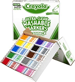 Crayola Ultra Clean Washable Markers, School Supplies Classpack, Fine Line, 10 Colors, Pack of 200
