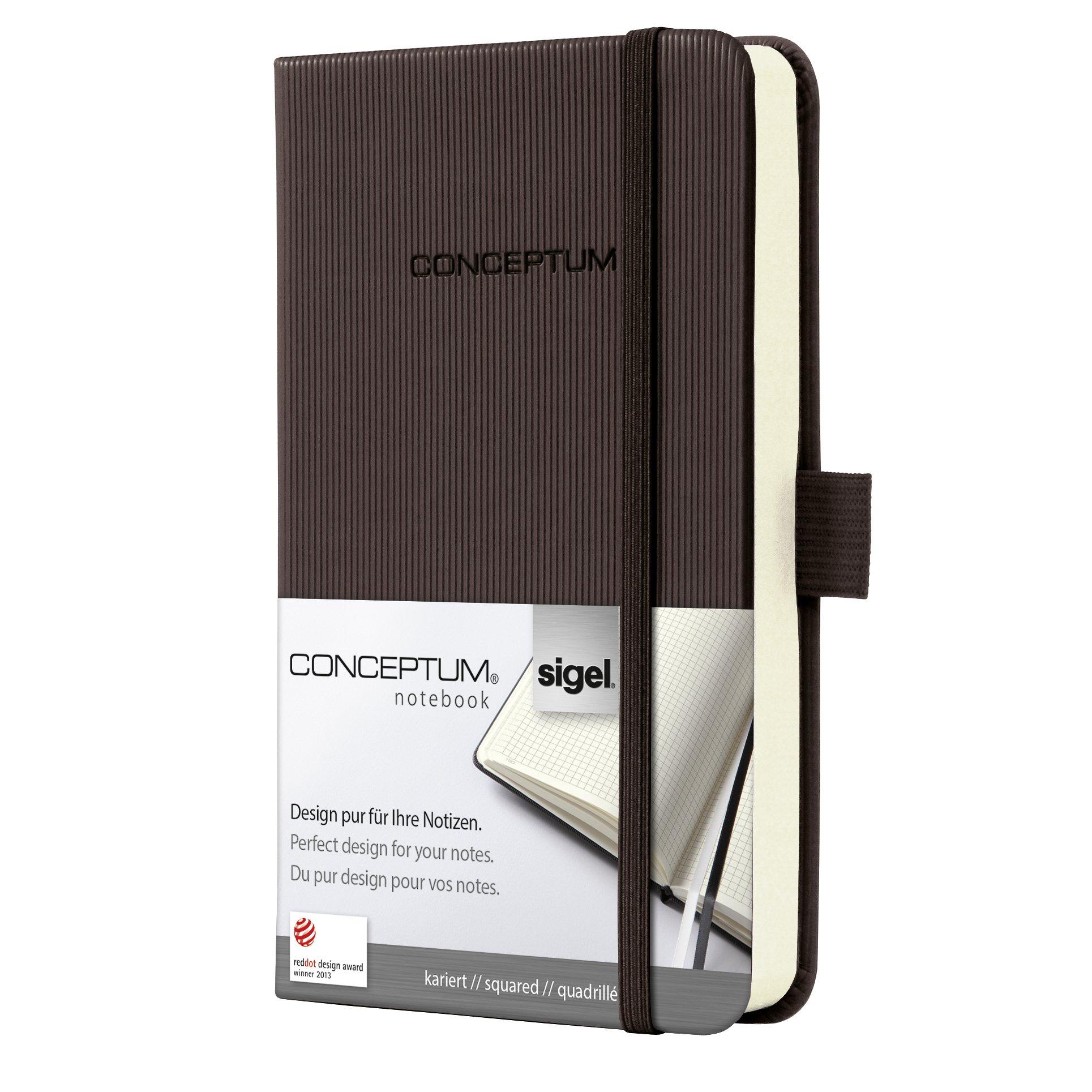 SIGEL CO564 Carnet de notes, env. A6 9,5 x 15 cm, petits carreaux, couverture rigide, marron foncé - Conceptum