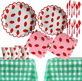 118 pcs Summer Strawberry Party Supplies Pack Disposable Tableware Serves 16 Birthday Party Decoration Set Value Pack Napk...