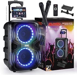 ABRATO Bluetooth Karaoke Speaker with DJ Lights –Dual 8 Inch Portable Machine – 2 Bonus Wireless Microphones - Ideal Gift ...