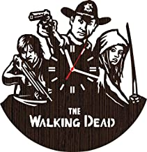 Wooden Wall Clock The Walking Dead tv Show Series Gifts for Men Women him her Fans | Unique Home Decorations Decor | Rick Grimes and Movie Zombie Daryl Dixon Norman Reedus Negan Season 8 7 6 Vinyl